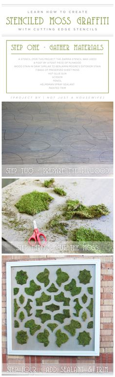 DIY stenciled moss graffiti using the Zamira Allover Stencil. http://www.cuttingedgestencils.com/moroccan-stencil-designs.html