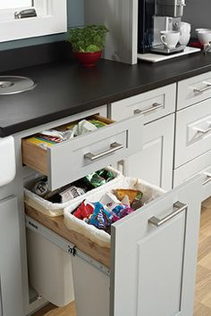 Trash Basket Pull Out - Cabinet And Drawer Organizers - Minneapolis - Mid Continent Cabinetry