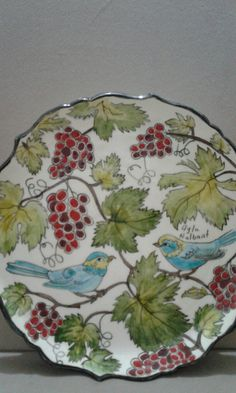 Painted Plates, Ceramic Plates, Plates On Wall, Ceramic Pottery, Hand Painted, Ceramic Painting, Ceramic Art, Mediterranean Style Homes, Baby Art