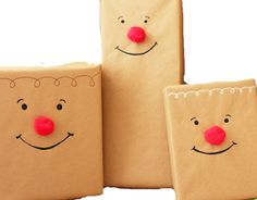 Rudolph the Red-Nosed Reindeer Wrap What you need: brown wrapping paper or brown paper bags, black, brown or white Sharpie Paint Pens, Elmer's Glue, and red pom pom balls.