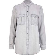 @riverisland Light grey lightweight denim shirt