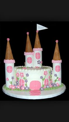 Princess Castle cake! Easy and fun to make!