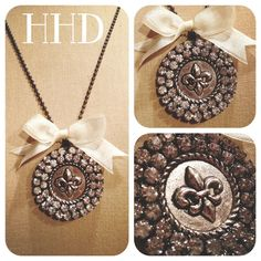 Fleur de lis double edged Rhinestone pendant by thehansenfamily, $32.00