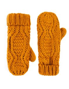 :LINED ARAN KNIT GLOVES