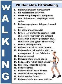 20 benefits of walking!  Chiropractic Adjustments can help make it easier to achieve your exercise goals.  Most major league athletes have a Chiropractor!