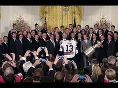President Obama Honors the 2013 NHL Champion Chicago Blackhawks.  Best part about this speech is Patrick Kane nudging Jonathan Toews whenever Toews is mentioned