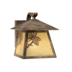 Features:  -Outdoor wall lantern.  -Rust scavo glass.  -Olde world patina finish.  -Yellowstone collection.  Product Type: -Wall lantern.  Finish: -Brown.  Fixture Material: -Metal.  Hardware Material