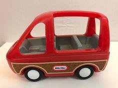 Vintage 1980s Little Tikes Dollhouse Size Mini Van Family Car Red Minivan Woody #LittleTikes