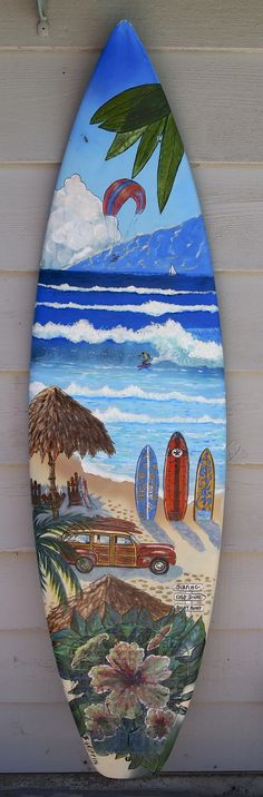 Upright beach scene hand painted surfboard mural by B. Griffin!