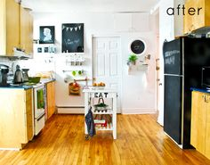 Painted ugly fridge with chalkboard paint. (Luckily I don't have an ugly fridge, but if I ever do, this is a great cheap fix).