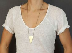 Big Brass Triangle Necklace  //  Long Geometric by BohemianFringe so funky and fun this triangle is!