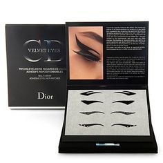 Dior Velvet eyes, stick on eyeliner flicks. Allow for instantly flawless definition above the eye in a series of artistic shapes. A real touch of catwalk glamour for a special night out.