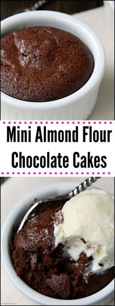 Gluten-Free Mini Almond Flour Chocolate Cakes - Easy Dessert For Two Or Cookies Sans Gluten, Gluten Free Sweets, Sugar Free Desserts, Gluten Free Cakes, Gluten Free Baking, Low Carb Desserts, Easy Desserts, Mexican Desserts, Healthy Desserts