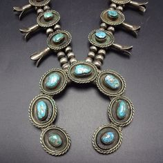 Classic Vintage NAVAJO Sterling Silver & Turquoise SQUASH BLOSSOM Necklace 269g