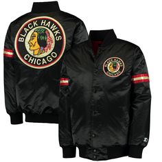 Chicago Blackhawks Starter Classic Retro Satin Full Snap Jacket - Black