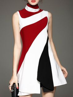 Shop White Contrast Red Black Stand Collar Sleeveless Ruffle Dress online. SheIn offers White Contrast Red Black Stand Collar Sleeveless Ruffle Dress & more to fit your fashionable needs.