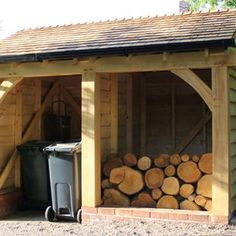 Oak Framed Log Store or Garden Storage Summer House Garden, Home And Garden, Outdoor Garden Rooms, Bin Store, Car Ports, Grey Houses, Garden Office, Annex, Conservatory