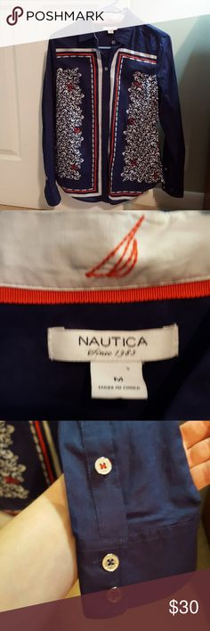 Nautica anchor button down top Navy blue with white and red anchors. Solid blue back. Nautica Tops Button Down Shirts
