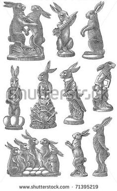 Vintage Easter Chocolate Mold Sketch - Rabbits Delivering Eggs - stock photo