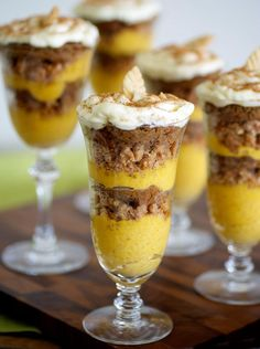 Don't skip the pumpkin!  If you're not a fan of pie, try these pumpkin mousse and ginger parfaits for a sweet finish to your Thanksgiving feast.