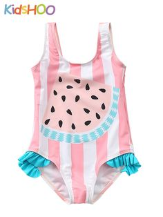 1f1cfe5ba Kid Girls' Pink and White Stripes Print Watermelon Ruffles One Piece Beach  Swimwear