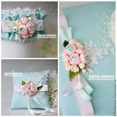 Купить Комплект свадебных аксессуаров Алина - мятный, подушечка, подушечка для загса, подушечка на свадьбу