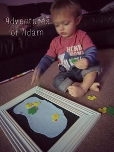 DIY Felt Board. Day 48 100 day toddler play challenge. Adventures of Adam. Independent toddler play. I loved making the felt board it required noartistic skill.