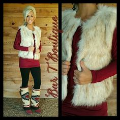Perfect Christmas Outfit! Burgundy dolman, Black Leggings, Fur Vest & Boot Rugs ~ Follow @bar_t_boutique on Instagram to Shop