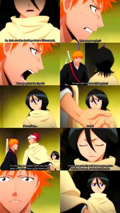 Ichigo is just being so PROTECTIVE and CARING about HER like he's so addicted OVER HER... You think?   IchiRukiRen Moment