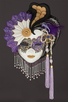 Madalena venetian ceramic mask for sale. 100% handcrafted in venice by venetian masters.