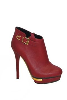 Steely Gold Accent Booties - Red - $46.00 | Daily Chic Shoes | International Shipping