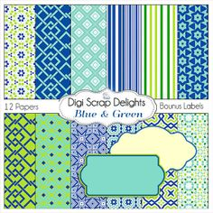 Blue Green Digital Scrapbook Paper in Blue by DigiScrapDelights Bonus labels