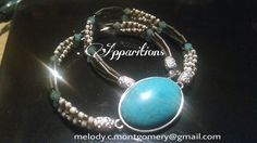 "Apparitions ""Blue Smoke"" Turquoise Cabochon Wrap!  Can be worn as a wrap bracelet or a necklace!  16""  $28"