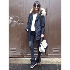 Casual & Cozy: woolrich arctic parka, isabel marant knit sweater, nowles boots, skinny jeans, celine trapeze bag, lgrey ewear sunglasses | #golestaneh
