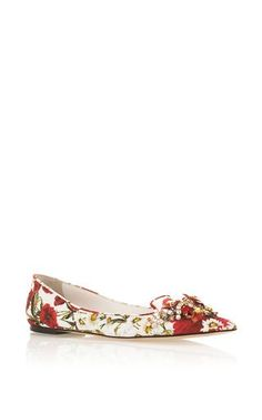 197567ad01f Floral Printed Flats With Embellished Toe by DOLCE   GABBANA Now Available  on Moda Operandi Tall