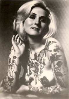 "dolores-haaze: "" Miss Cindy Ray. Original bad ass, and sexy tattooed lady from the She paved the way for all us tattooed women. For that we salute your hotness. Tattoo Girls, Girl Tattoos, Tattoos For Women, Tattooed Women, Tatoos, Nurse Tattoos, Ladies Tattoos, Picture Tattoos, Tattoo Photos"