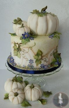 White Pumpkins Cake ~ hand pained and all edible  Classy fall or Halloween cake