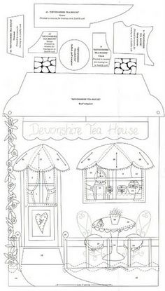 Tea House Wallhanging (pillow, with lace for curtains, flowers embroidered)