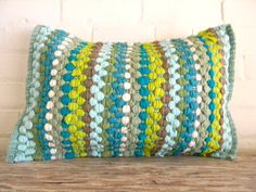 woven greens and blues pillow cover 16x20 by pillowhappy on Etsy, $35.00
