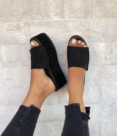Buy Now Black Leather Sandals Black Sandals Leather Slides. Sport Sandals, Slide Sandals, Women's Sandals, Sandals Platform, Slip On Sandals Outfit, Black Leather Sandals, Suede Leather, Black Shoes, Women's Shoes
