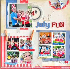 #papercraft #scrapbook #layout 4th of July Fun ~American Crafts~ - Scrapbook.com