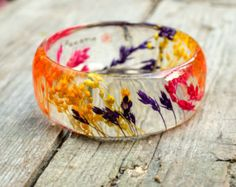 Resin Jewelry. Real Rose Bangle resin Bracelet. by PAGANEuniques