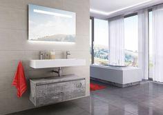 Think BIG! De Square BIG is een echt eye-catcher in uw badkamer. De combinatie tussen de zeer fraaie keramische Elegance wastafel en de BIG onderkast maken het tot een zeer stijlvol en praktisch geheel. Natuurlijk leverbaar in meerdere moderne kleuren. Op deze foto uitgevoerd in cemento.