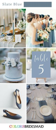 Top 8 Fall Wedding Colors Palettes in Shades of Blue. NO.6 Slate Blue Wedding. #colsbm #weddings #weddingideas #bluewedding