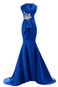 Royal Blue Mermaid Satin Scallop Neck Long Evening Dresses Applique Sweep