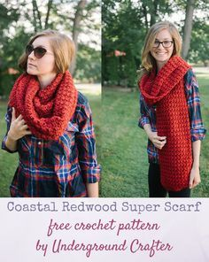 Free crochet pattern: Coastal Redwood Super Scarf in Lion Brand Heartland Thick & Quick by Underground Crafter | My inspiration for this super scarf pattern was the redwood, a species of super tall and long-lived tress that thrive in the Northern Coast of