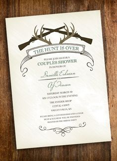 The Hunt Is Over - Hunting Couples Shower Invitation. $15.00, via Etsy.