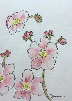Pink Anemone Watercolor Card by IndigoStreetStudio on Etsy