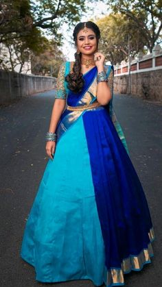 Indian Bridesmaid Dresses, Party Wear Indian Dresses, Indian Bridal Outfits, Indian Bridal Wear, Indian Fashion Dresses, Pattu Saree Blouse Designs, Half Saree Designs, Lehenga Designs, Lehenga Pattern