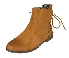 Strip-97X! By Qupid Western Inspired Cowboy Ankle Bootie with Back Lacing and Oil Tip Finish in Rust Faux Suede Leatherette *** Remarkable product available now. : Western boots